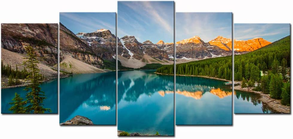 Nachic Wall 5 Piece Canvas Wall Art Colorado Rocky Mountains and Moraine Lake at Sunrise Picture Canvas Print Painting USA National Park Landscape Poster for Home Living Room Decor Gallery Canvas Wrap