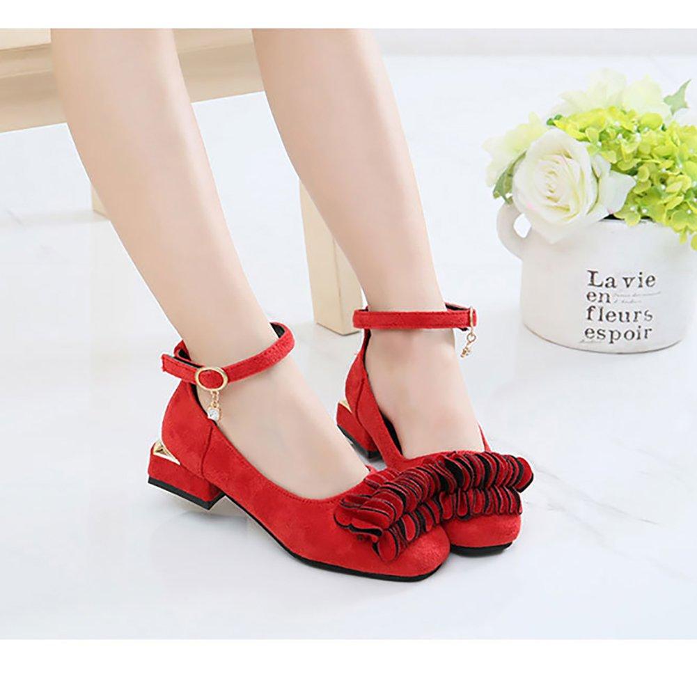 LANXI Girls Flower Princess Girls Dress Shoes Low-Heels Mary Jane Shoes