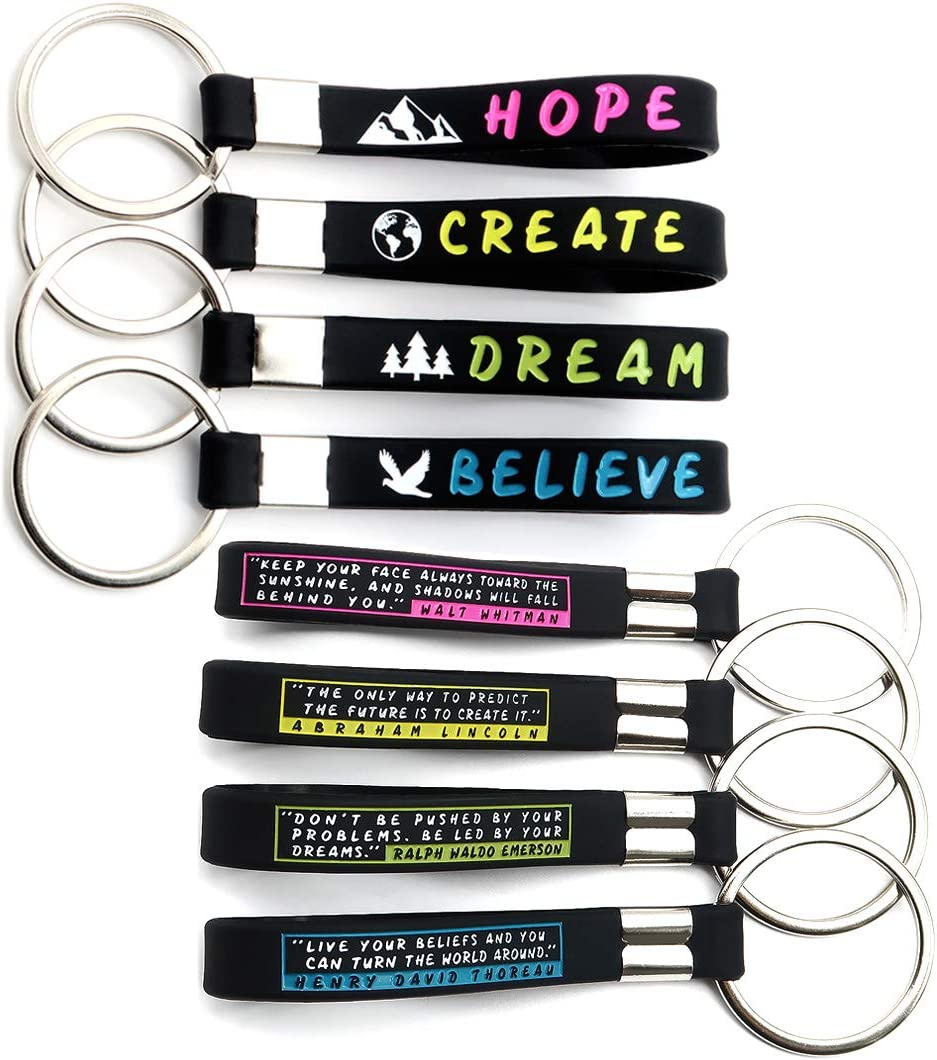 (12-Pack) Inspirational Quote Keychains - Dream, Believe, Hope, Create - Wholesale Key Chains in Bulk for Party Favors, Backpack Accessories, Giveaway Items Gifts for Adults Men Women Teen Boys Girls