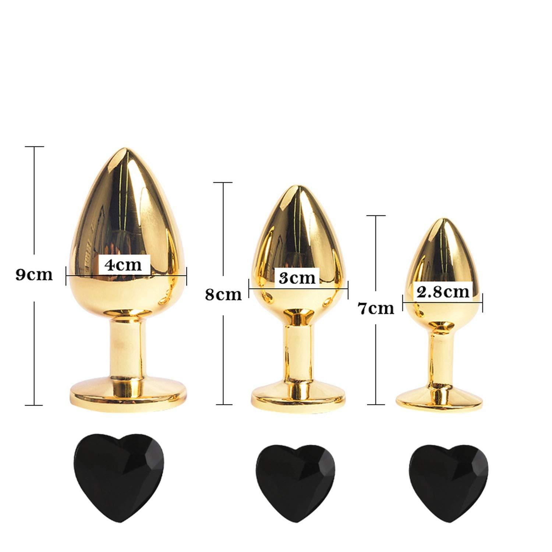 Mens Fun 3pcs//Set Golden Heart Love Metal Blockage Plug Crystal Stainless Steel Adult Funny Toys Blockage Plug Funny Products BLM-221,Love GO Black