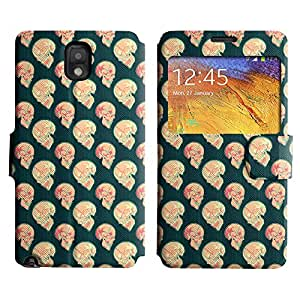 AADes Scratchproof PU Leather Flip Stand Case Samsung Galaxy Note 3 III ( Pink Skull )