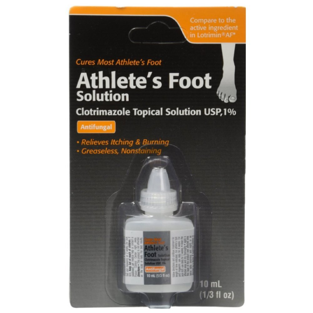 Clotrimazole, AF Antifungal AthleteS Foot Topical Solution 1 Percent (Generic Lotrimin) - 10 Ml (Pack of 2) by Taro Pharmaceutical Usa @ (Image #1)