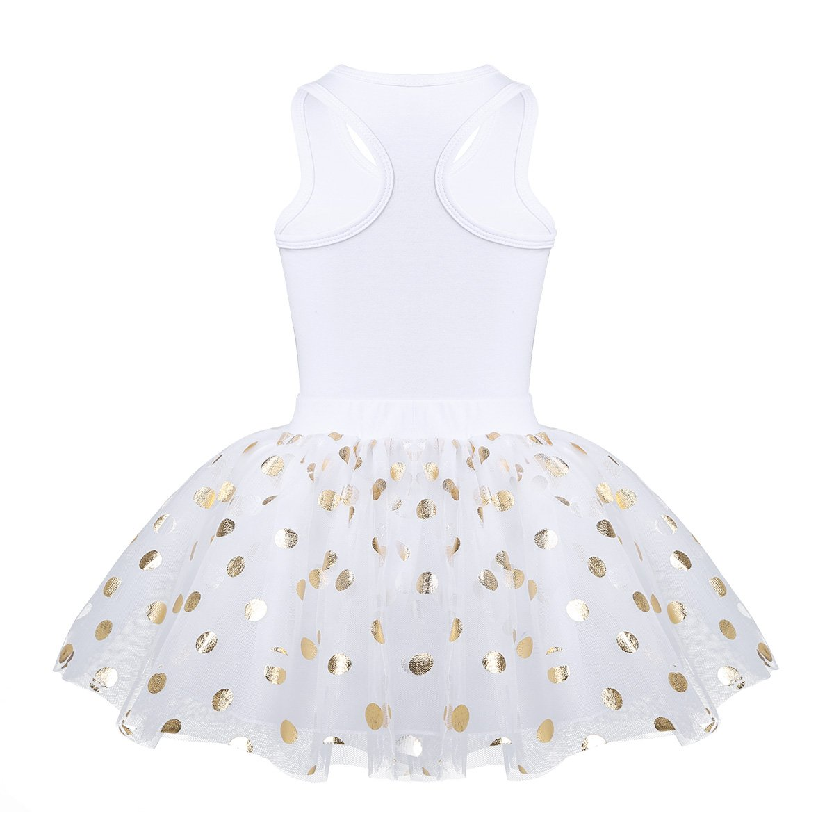 dPois Little Princess Girls' First Birthday Outfits Glittery Monogram Tank Top with Polka Dot Skirts 2 Pieces Set White 4-5 by dPois (Image #4)