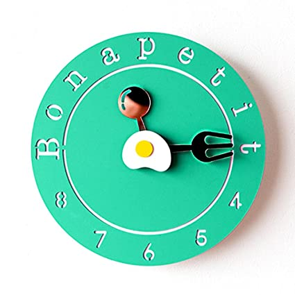 OOFYHOME LUOER Wall Clock Modern Minimalist Wall Clock Cartoon Wall Clock Fashion Art Wall Clock Silent