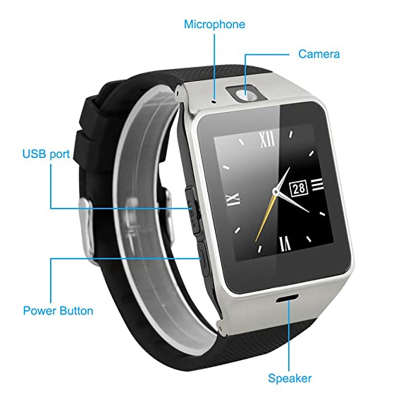 Excelvan GV18 - Smartwatch Reloj NFC Smartphone Libre 2G SIM (Cámara, Bluetooth, Sincronizar Llamada, Anti-pérdida) para Android IOS (Negro)