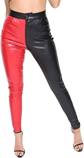 Ladies stretch Leather look Jeans faux leather Trousers Skinny Red Pants 6-14