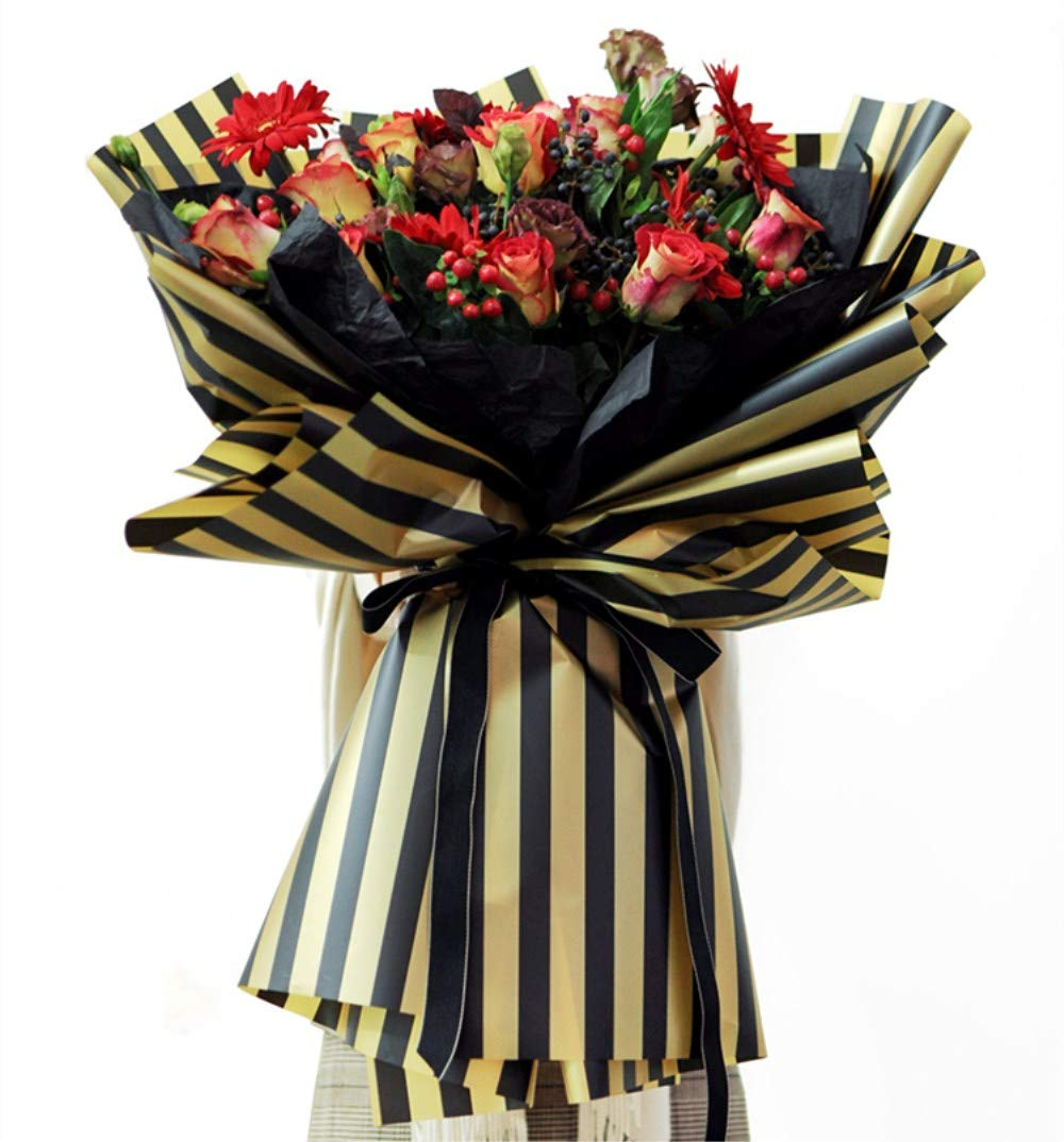 Black BBC Flower Wrapping Paper Floral Bouquet Wraps for Gift Packaging 20 Sheets 23.6x23.6 Inch