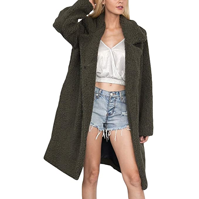 Amazon.com: XWDA larga Trench Coat mujeres sintética cordero ...