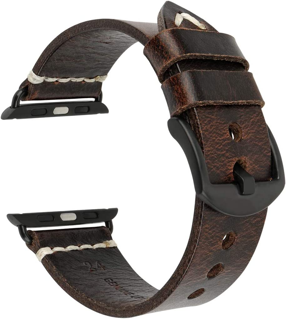 MAIKES Compatible with Apple Watch Band Genuine Oil Wax Leather Watch Strap/Watchband Replacement for iWatch SE Apple Watch 44mm 40mm42mm 38mm for Series 6 5 4 3 2 1