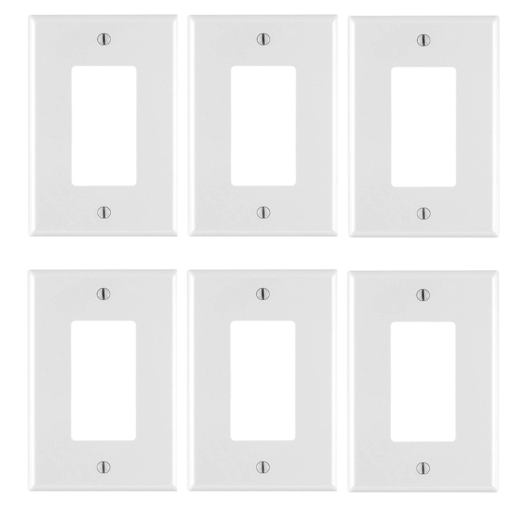 Leviton PJ26-WM 1-Gang Decora/GFCI Wallplate, White, 6 PACK