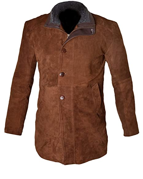 4f1ab9e19ad MSHC Men s Sheriff Walt Longmire Robert Taylor Genuine Leather Trench Coat  (XXS) TAN Brown