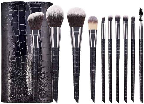 Juego de 10 brochas de maquillaje profesionales con soporte para pinceles, elegante estuche presentado en una bonita caja de regalo para damas de 26,5 x 18 x 2 cm, color blanco: Amazon.es: Belleza