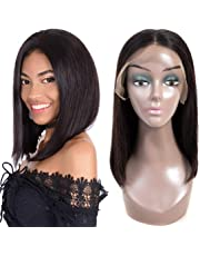 Short Bob Human Hair Lace Front Wig 10A Brazilian Virgin Straight Human Hair Bob Wig for Black Women Glueless Lace Front Wig Natural Color (14 inches)