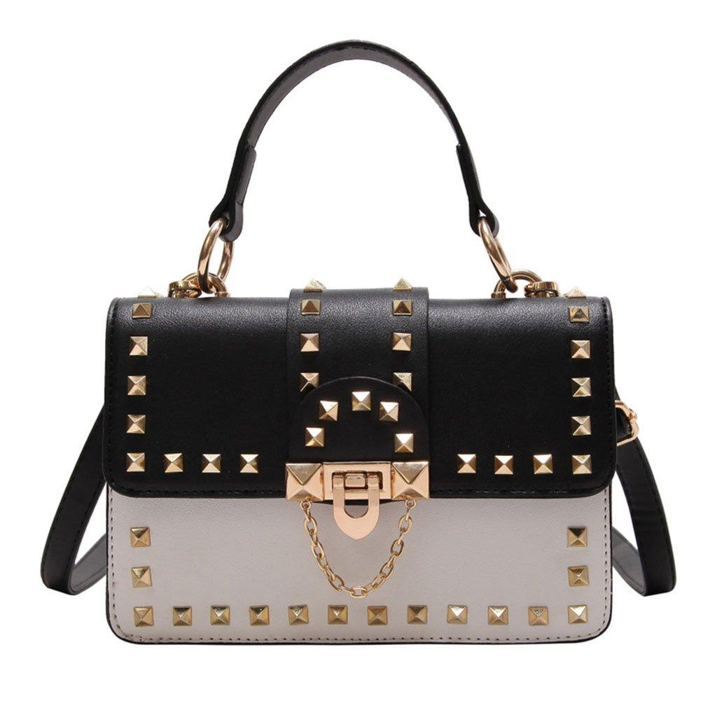 DCRYWRX Women's Shoulder Bag PU Leather Shoulder Phone Purse Rivet Chain Bags Casual Diagonal Package Fashion Handbag,Black