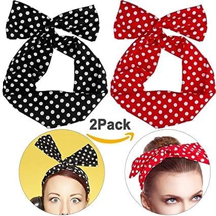 Boolavard Retro Bowknot Polka Dot Wire Head Arcos diadema sujetador de pelo para mujeres niñas (