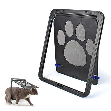 JLCYYSS Puerta De Gato Cerradura Automática Puerta De Pantalla para Mascotas, Solapa De Malla De Puerta De Entrada Bloqueable para Perros Pequeños Y Gatos: ...