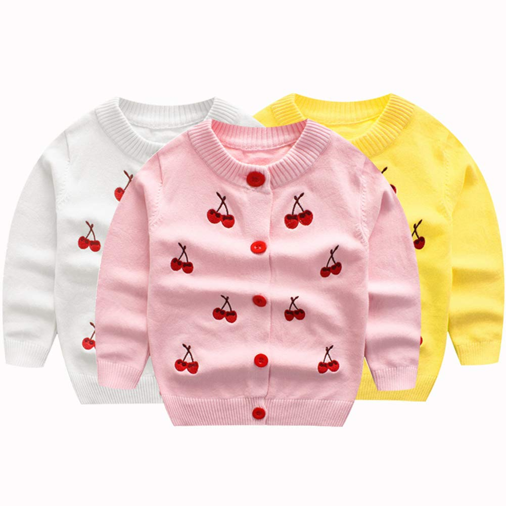 KIMJUN Toddler Baby Girls Cardigan Sweater Kid Knit Button Down Sweatshirt Auttumn Spring Outwear 1-7t