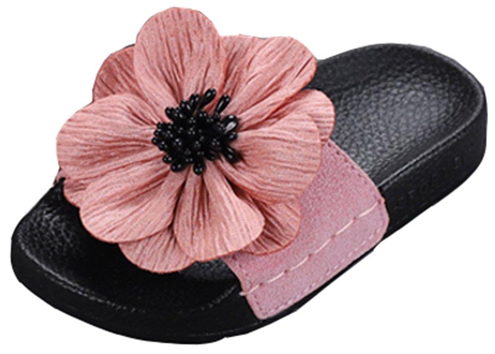 VECJUNIA Girl's Sandal Slipper with Flower Soft Sole Non-Slip Summer Casual Shoe (Pink, 12 M US Little Kid)