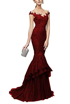 Lily Wedding Womens Sheer V-Neck Lace Embroidery Prom Dresses 2018 Long Mermaid Formal Evening