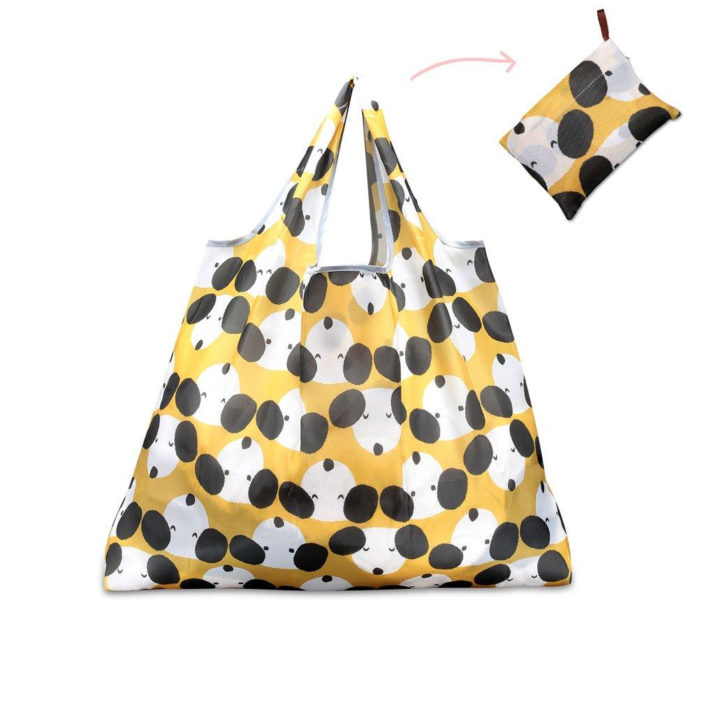 Teoyall, grande borsa della spesa riutilizzabile e pieghevole, ecologica, resistente Cute Dog Yellow