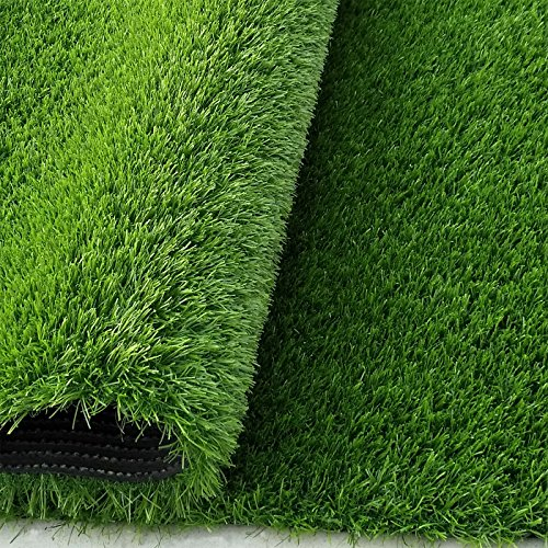 Synturfmats Premium Indoor/outdoor Green Artificial Grass Rug - 7'x12' Decorative Synthetic Turf Runner Rugs Carpet with Drainage Holes (Outdoor Runner Carpet)
