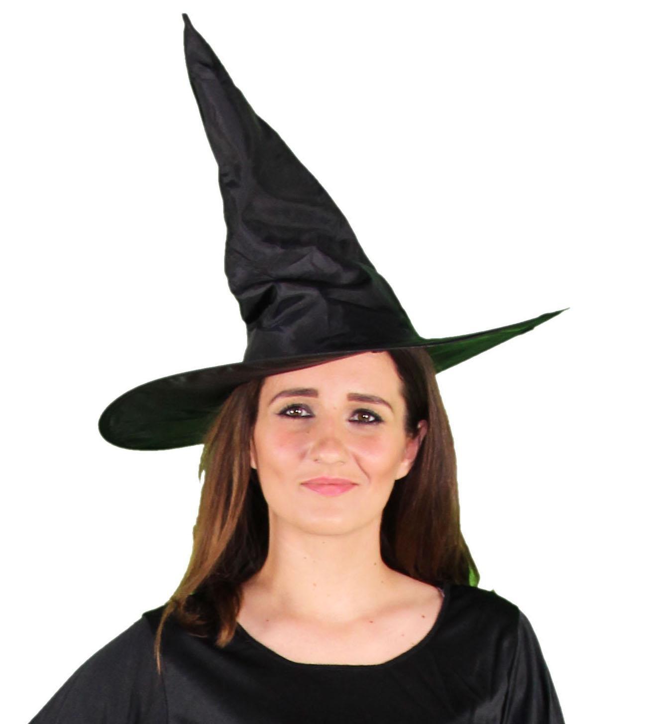 Foxxeo 35207 | schwarzer Hexenhut für Damen Halloween Horror Party schwarz Hexe Hut Kopfbedeckung