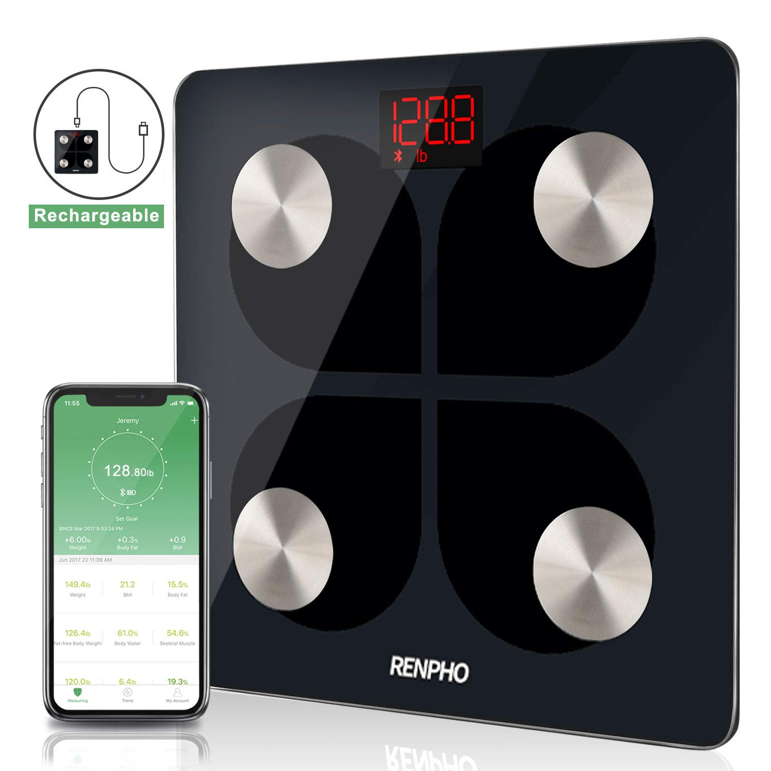 RENPHO Bluetooth Body Fat Smart Scale USB Rechargeable Digital Bathroom Weight Scale Body Fat Monitor with Smatrphone App, 396 lbs by RENPHO (Image #1)
