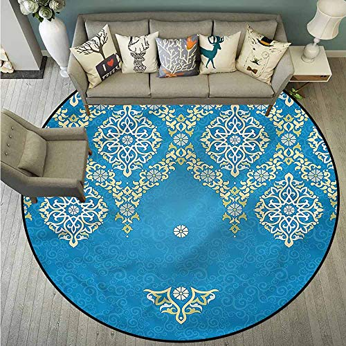 (Area Round Rugs,Damask,Traditional Ottoman Flower,Rustic Home Decor,2'11