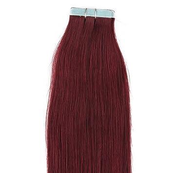 Amazon 18 inches 100grs 40pcs 100 human tape in hair 18 inches 100grs40pcs 100 human tape in hair extensions 99j burgundy pmusecretfo Choice Image