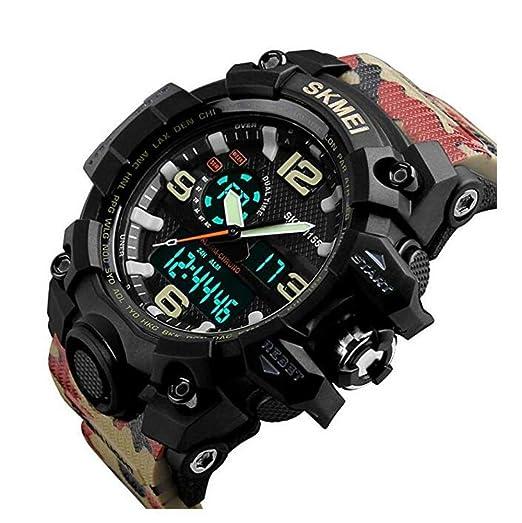 Reloj de Pulsera para Hombre, Reloj análogo Digital 50M Reloj Impermeable para Deportes al Aire Libre Multifunción Militar Calendario de cronómetro ...