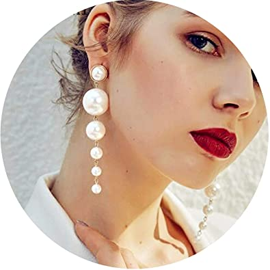 02fbcb79efa4d Amazon.com: Trendy Elegant Created Big Simulated Pearl Long Earrings ...
