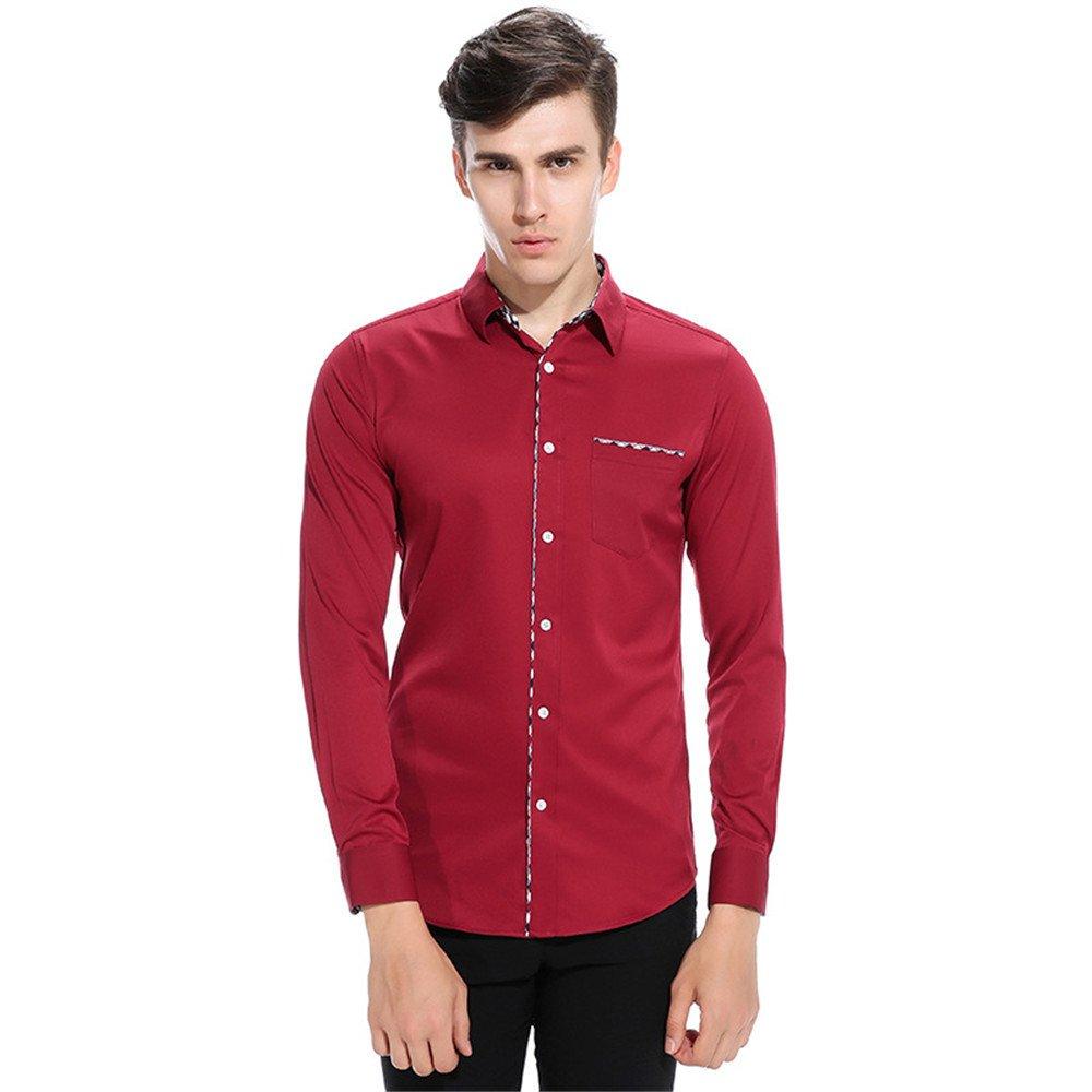 Männer langärmliges Hemd und langärmelige Shirt lässig Hemd,EIN Bordeaux - Wein,XL