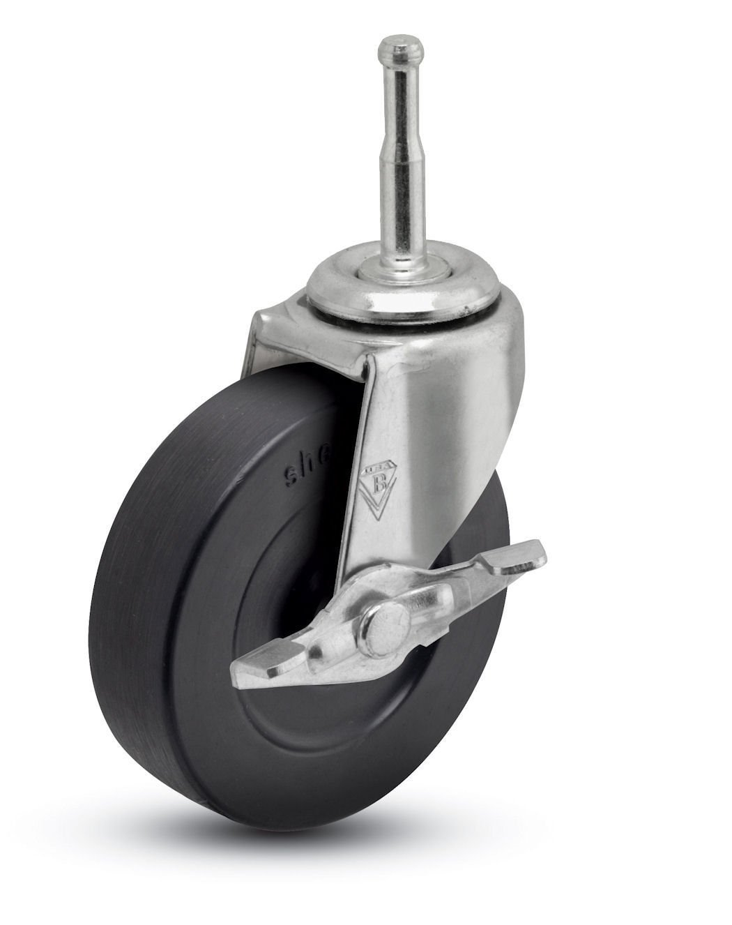 Shepherd Regent Series 2'' Diameter Soft Rubber Wheel Swivel Caster with Side Brake, 5/16'' Diameter x 1-1/2'' Length Grip Neck Stem, 80 lbs Capacity, Zinc Finish