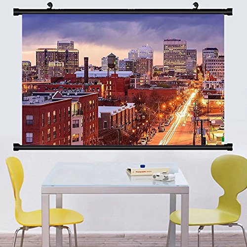 Gzhihine Wall Scroll United States Richmond Virginia Highway Office Buildings Downtown at Dusk Urban Lifestyle Wall Hanging Multicolor - Richmond Outlets In Virginia