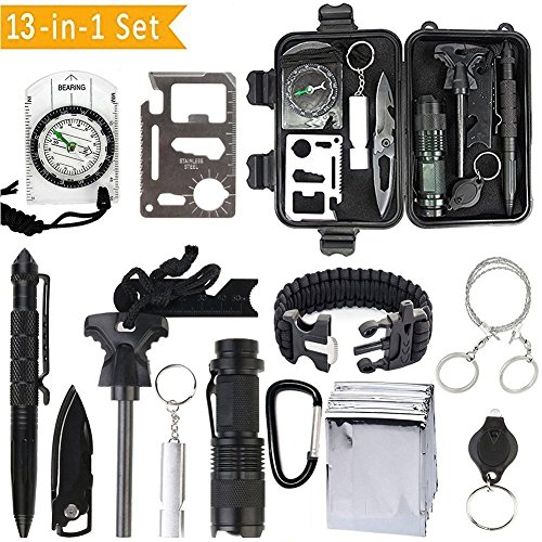 OIVO 13 in 1 Emergency Survival Kits Multi Professional Outdoor Survival Tool Tactical Pen Compass Fire Starter Whistle Flashlight for Travel Hike Field Camp Wild Survival Hunting by OIVO