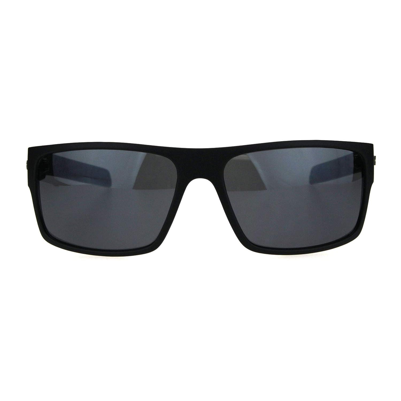 93c5fa753a7 Amazon.com  Biohazard Mens Rectangular Skater Warp Sport Plastic Sunglasses  All Black  Clothing