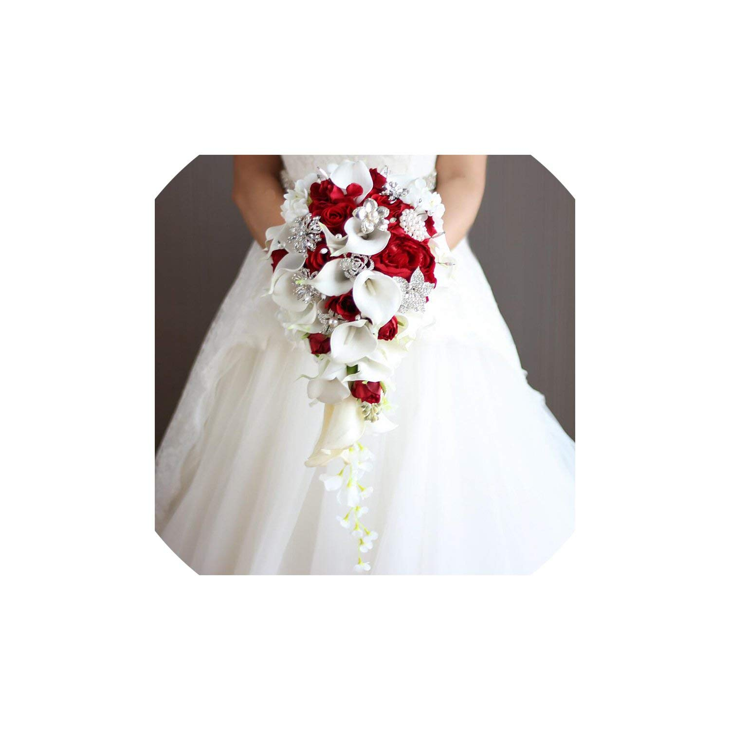 Bridal Bouquet,Vintage Red Rose Bouquet with Crystal Waterfall Bridal Pearl White Wedding Bouquet Artificial Flowers Bride Brooch,Red by Kayer-Hebe bridal bouquets