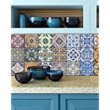 Tile Stickers 24 PC Set Authentic Traditional Portuguese Bathroom & Kitchen Tile Decals Easy to Apply Just Peel & Stick Home Decor 6x6 Inch (Portuguese Traditional Pattern HA3)