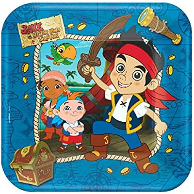 American Greetings Jake and the Neverland Pirates Party Supplies, Square Paper Dinner Plates (8-Count): Toys & Games