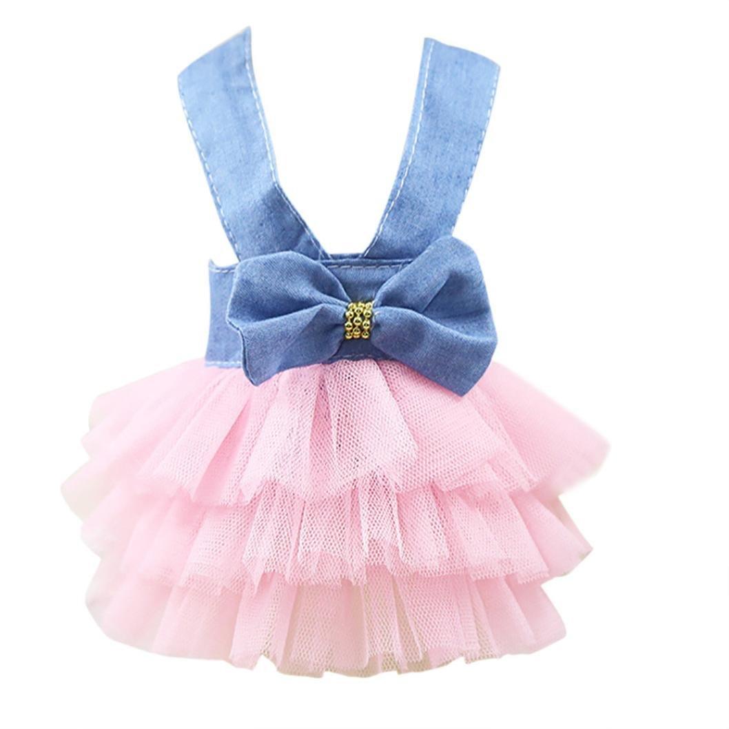 YOMXL Pet Dog Cowboy Strap Dress Cute Small Dog Puppy Princess Mesh Tutu Dress Bow Decor Summer Apparel For Outdoor Photography (S, Pink)