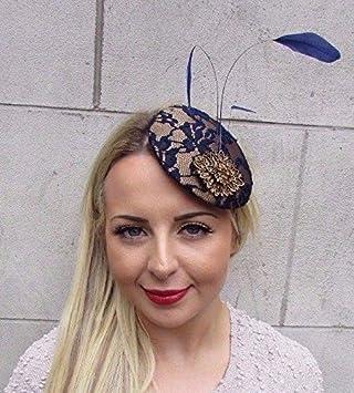 cab55897 Starcrossed Boutique Navy Blue Bronze Gold Feather Fascinator Pillbox Hat  Clip Races Wedding Vtg 3198
