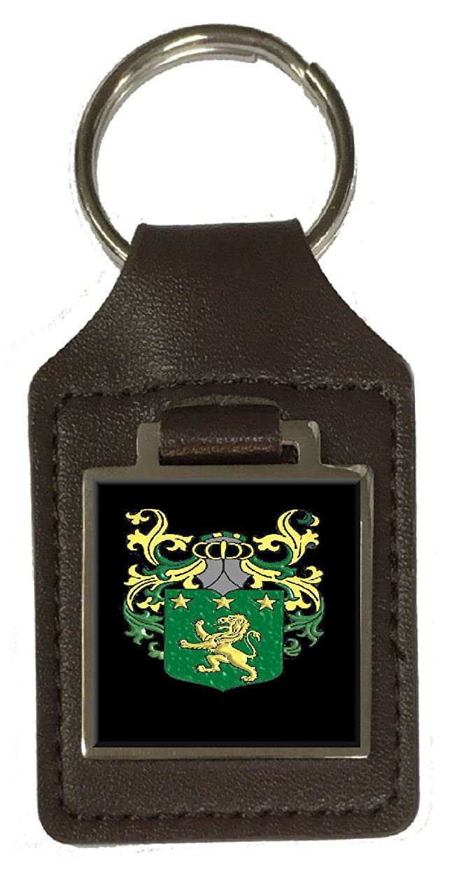 Moore Family Crest Surname Coat Of Arms Brown Leather Keyring Engraved