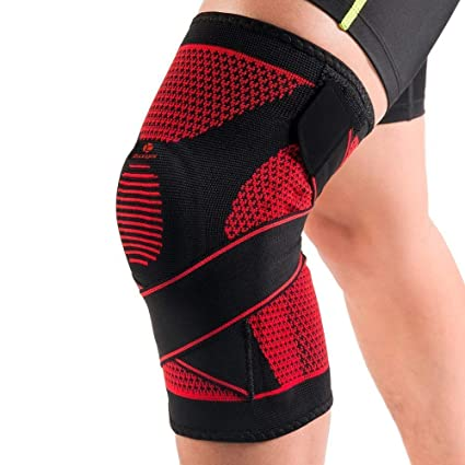 fbcd3a9803 Kuangmi Knee Brace Spring Support with Side Stabilizers Silicone Bandage  Patella Sports Protector Joint Pain Relief,Injury Recovery for  Running,Basketball, ...
