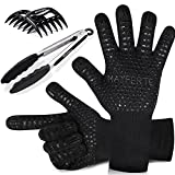 MAYFERTE BBQ Cooking Gloves Heat Resistant Glove Meat Claws & Stainless Steel Cooking Tongs