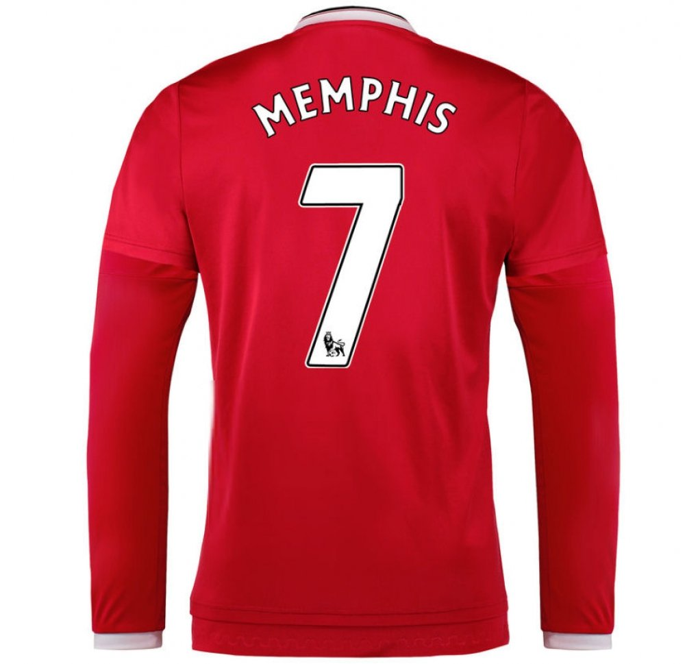 2015-2016 Man Utd Long Sleeve Home Football Soccer T-Shirt Trikot (Memphis Depay 7) - Kids