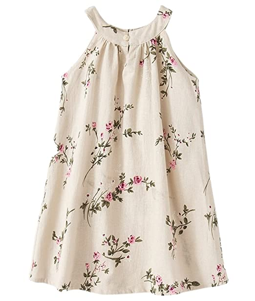 f4863ab2e8d6 BESTERY Toddler Girl Summer Casual Sleeveless Floral Breathable Linen Dress  Clothings (Flower-A,