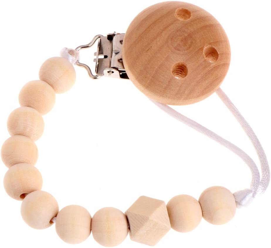 X-QUICKLY Pacifier Chain Baby Infant Toddler Dummy Pacifier Soother Nipple Wooden Chain Clip Holder DIY