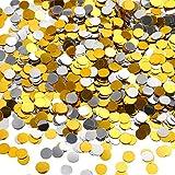 TecUnite 3.5 oz Confetti Dots Silver and Gold Glitter Confetti Circles 1/4 Inch Metallic Dot Confetti for Birthday Wedding Holiday Party Decoration Supplies
