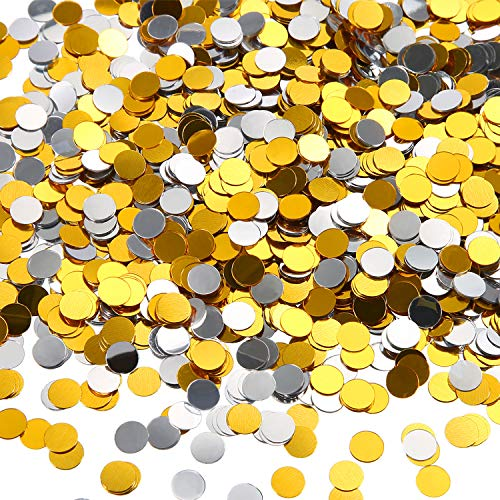 3.5 oz Round Confetti Dots Glitter Confetti Circles 1/4 Inch Metallic Round Dot Confetti for Birthday Wedding Holiday Party Decoration Supplies (Silver and Gold)
