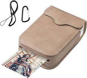 Portable Leather Case for HP Sprocket Portable Photo Printer/Polaroid Zip Wireless Mobile Photo Mini Printer,Creamy-White